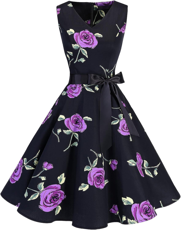 TALLA XL. Bridesmay Vestido de Cóctel Fiesta Mujer Verano Años 50 Vintage Rockabilly Sin Mangas Pin Up Purple Flower XL