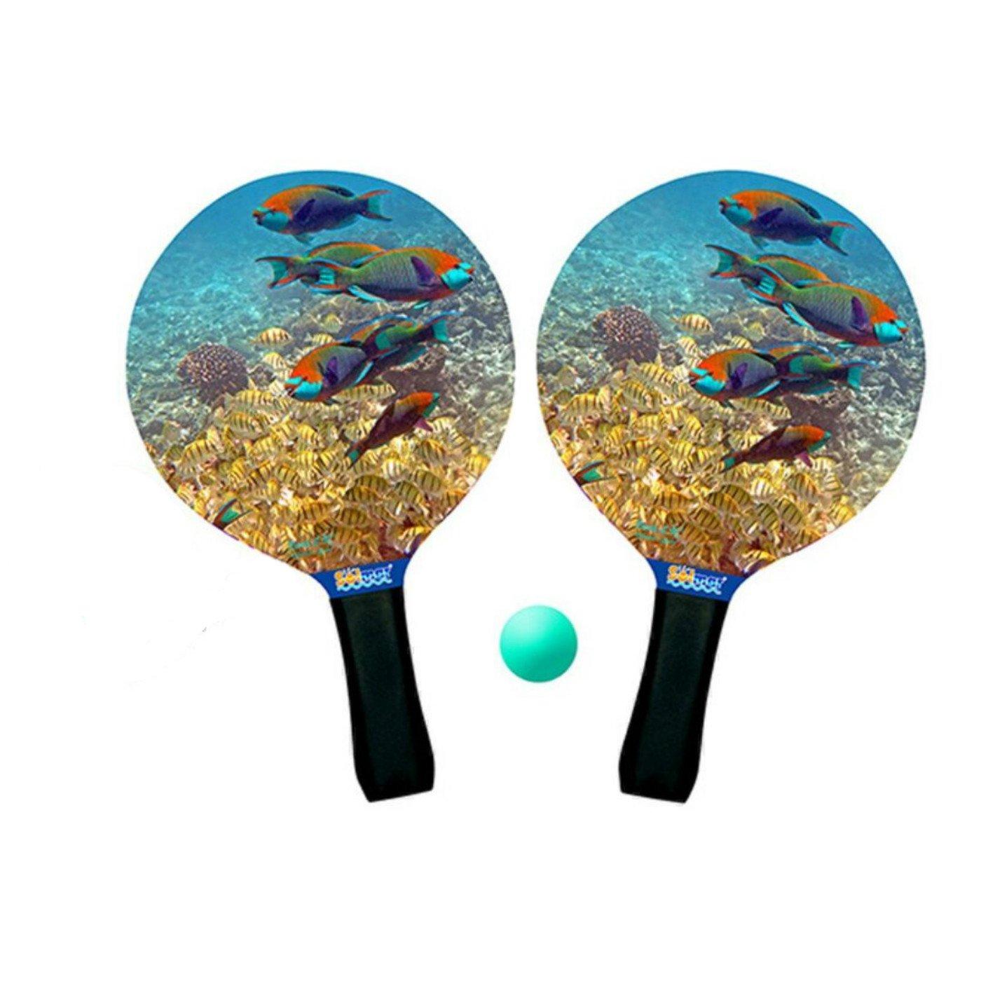 Conjunto de 2 palas de playa y pelota Fondo Marino: Amazon.es ...
