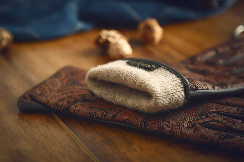 YISEVEN Damen Lederhandschuhe Gef/üttert Touchscreen Vintage K/öniglichen Stil
