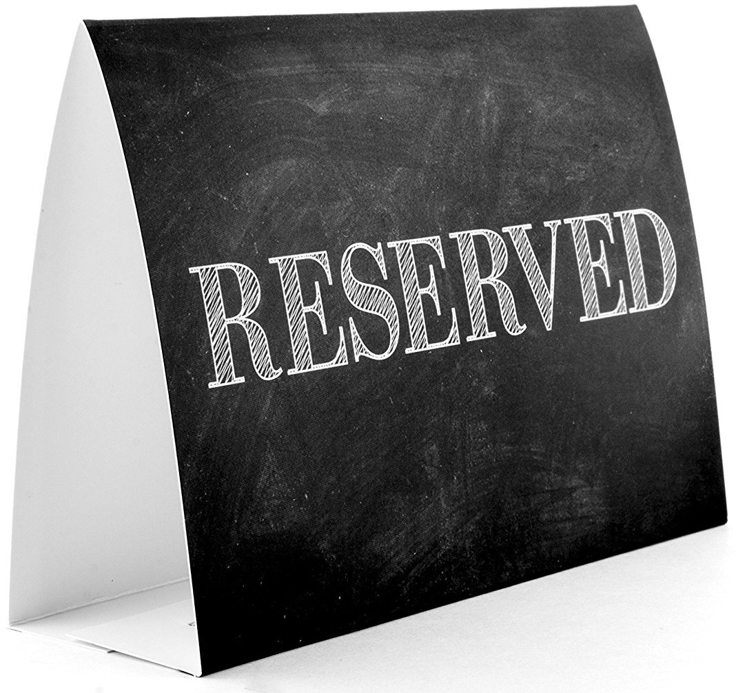 Toros.Store Rustic Reserved Table Sign. 20-Pack. for Weddings, Restaurants or Parties. Laminated Heavy Paper. 5,5 х 4 inches. (Black (Chalkboard))