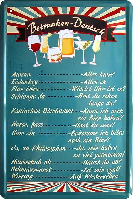 Tarjeta de bebidas Alemán Funny betrunken Bar Deko cerveza ...
