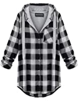 OMEYA.WANSHIDA.Women's Soft Casual Mid-Long Flannel Plaid Checker Flannel Hood Button Down Shirt Top