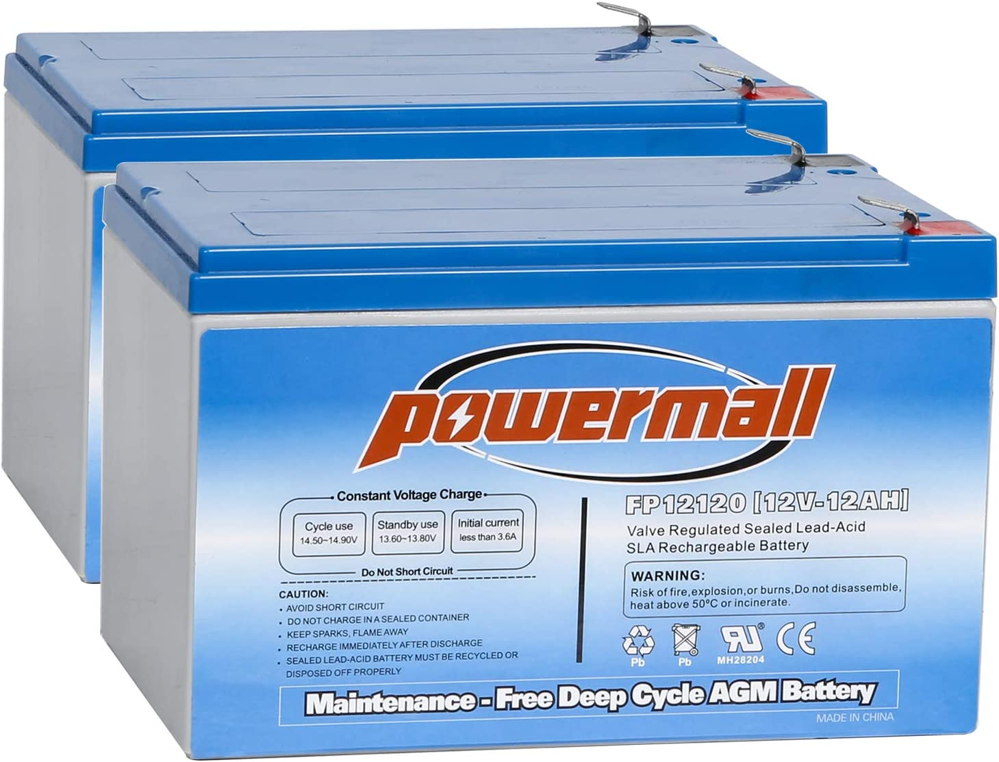 Weize 12 Volt 12AH SLA Rechargeable Battery Replace UB12120, EXP1212, 6FM12, LHR12-12, GPS12-12, F2, 2 Pack