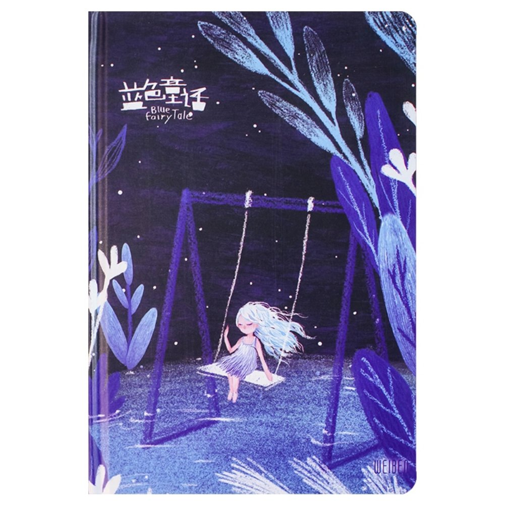 Cute Blue Fairy Tale Hardcover Color Page School Notebook Journal Sketchbook Kawaii Diary Book Office Supplies for Boys Girls (B)