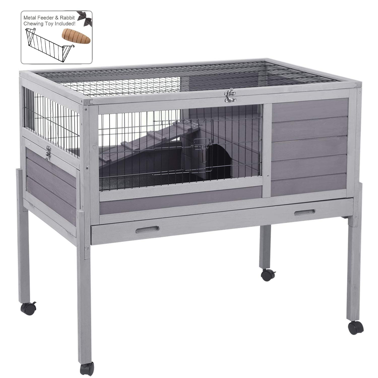 Aivituvin 39.4'' Rabbit Hutch Indoor and Outdoor Bunny Cage with Deep Not Leakage Pull Out Tray,Guinea Pig Cage on Wheels by Aivituvin