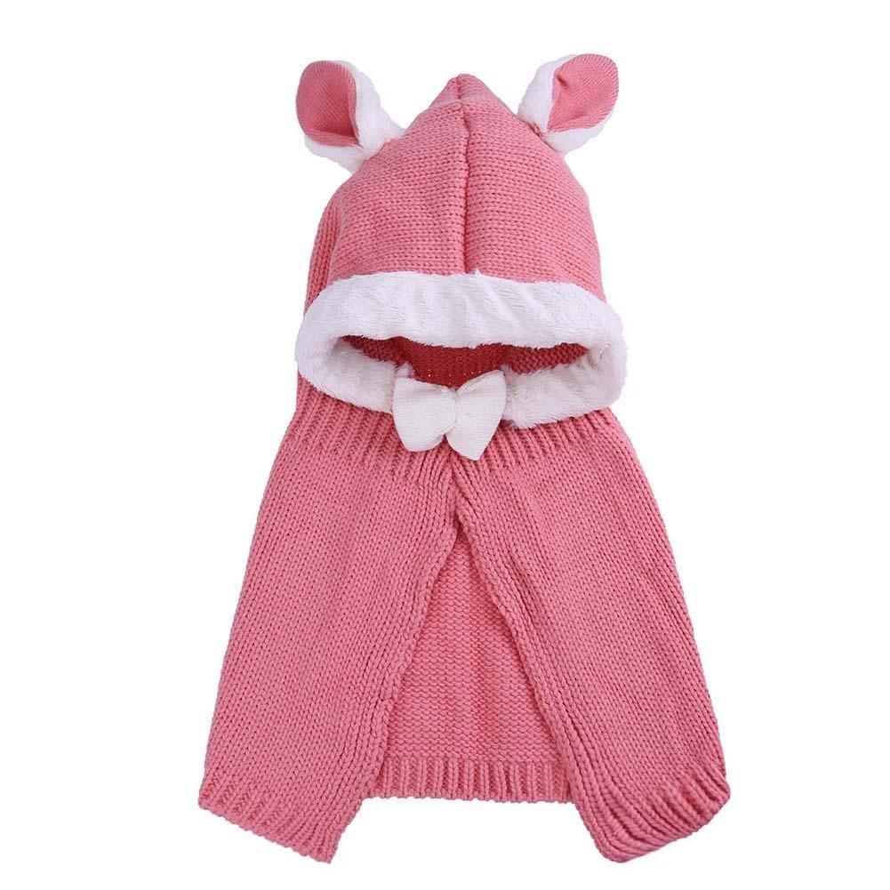amazingdeal Baby Hat, Children Rabbit Shawl Warm Cap Korean Thicken Animal Knitted Hat(Pink)