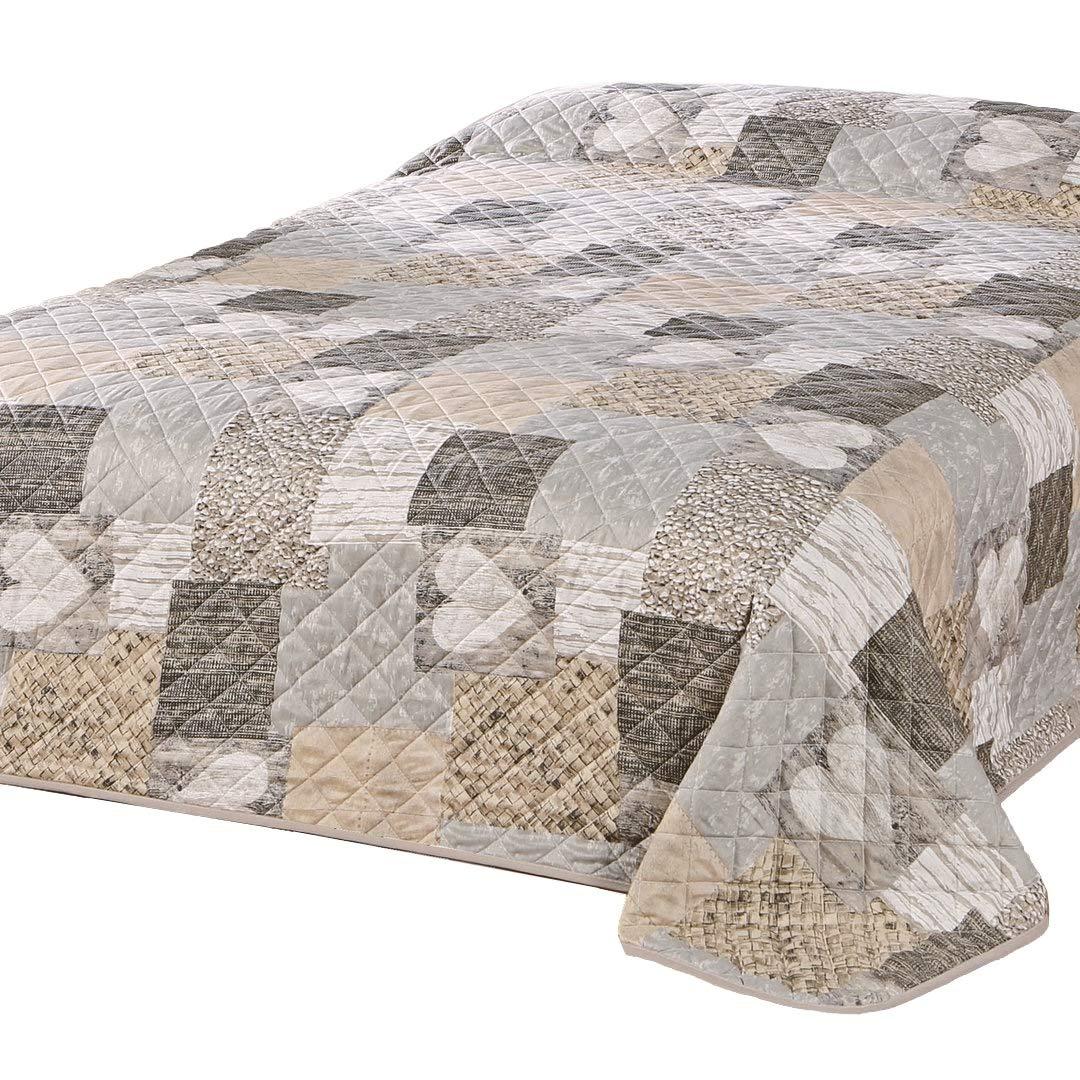 Delindo Lifestyle® Bedspread / Patchwork Quilt HEART / Double Bed Throw / brown / 220x240 cm Tischdeckenshop24