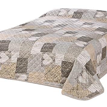 560115da054094 Delindo Lifestyle® Tagesdecke Bettüberwurf HERZEN / für Doppelbett /  patchwork braun / 220x240 cm