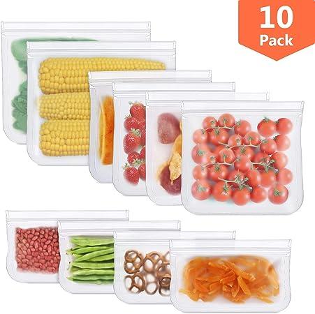 HOMPO Sacchetti Riutilizzabili per Alimenti Verdura 10 Pezzi Biodegradabile Borse Silicone per Alimenti Sacchetti Ermetici Alimenti per Panino Carne Frutta Senza BPA