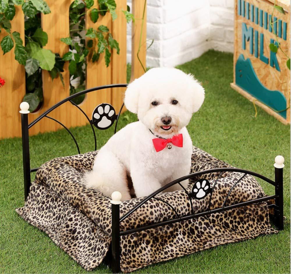 A 56X54CMGZDXHN Dog House Winter European Iron Frame Bed Fashion Pattern Leopard Mattress Kennel Cat Litter Mat Can Be Cleaned X