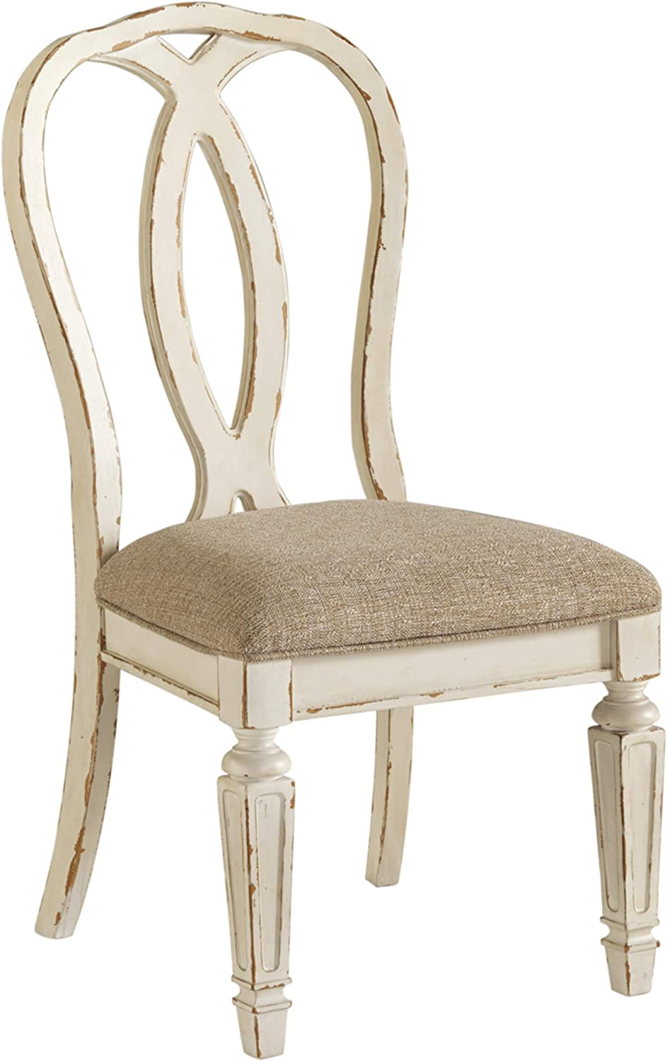 Amazon Com Signature Design By Ashley Realyn Dining Room Chair Set Of 2 Chipped White Chairs