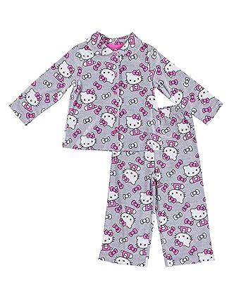 b9347b26b Sanrio Girls Hello Kitty Pajamas - 2-Piece Long Sleeve Pajama Set (Grey,