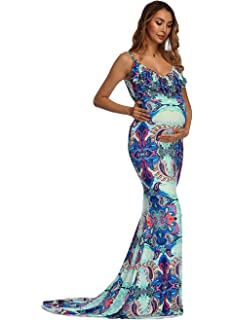 ASKEN Women Maternity Dress Mermaid Photography Long Sleeve Stretchy Baby Shower Pregnancy Maxi Gown