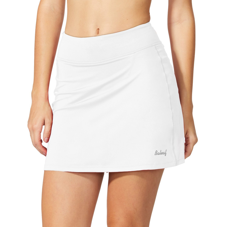 Baleaf Women's Active Athletic Skort Lightweight Skirt with Pockets for Running Tennis Golf Workout White Size M by Baleaf