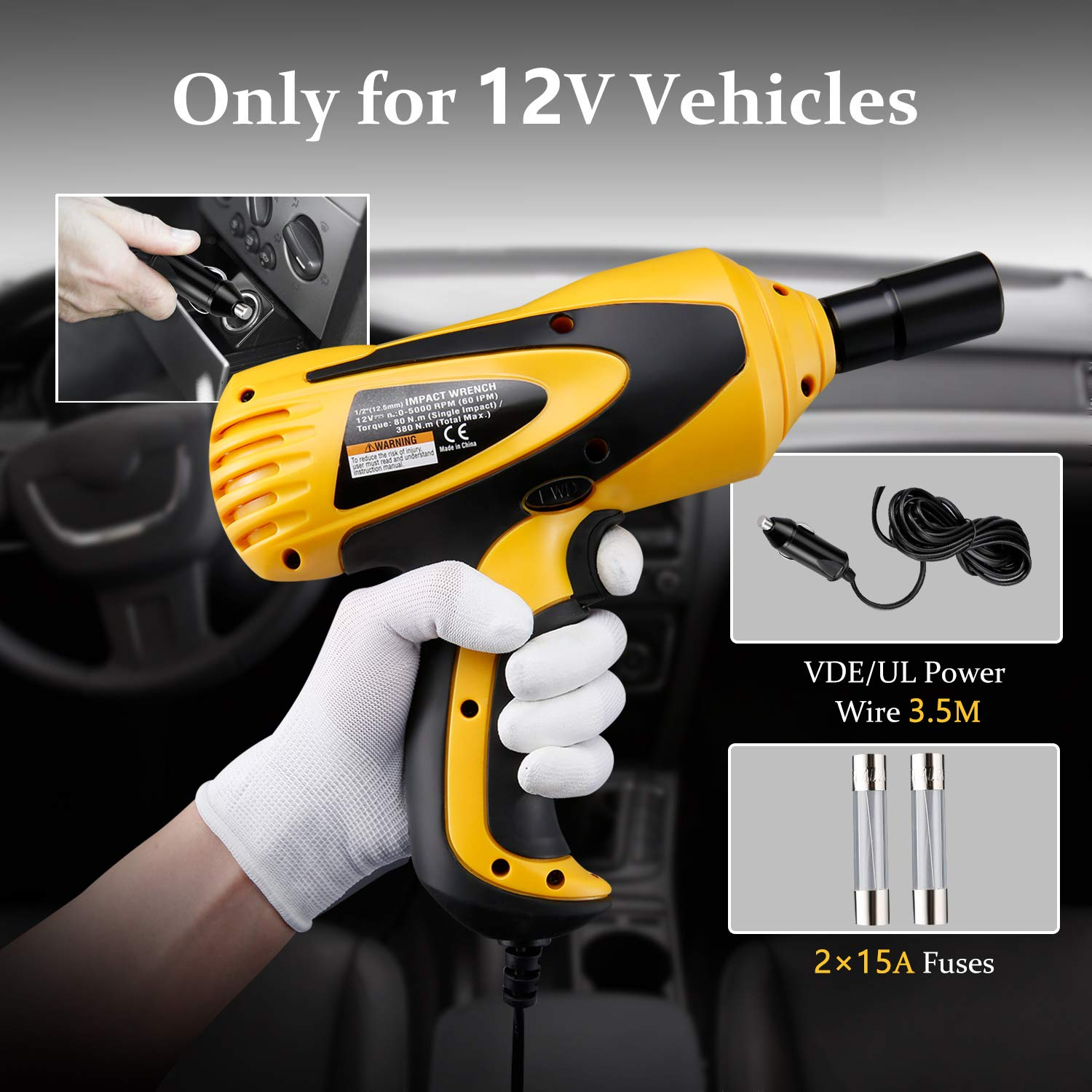 VETOMIL 12V Electric Impact Wrench Driver 5000 RPM 380N.m Torque with 1//2 inch Square Drive Sockets and Carry Case for Car Tire Repair Tools
