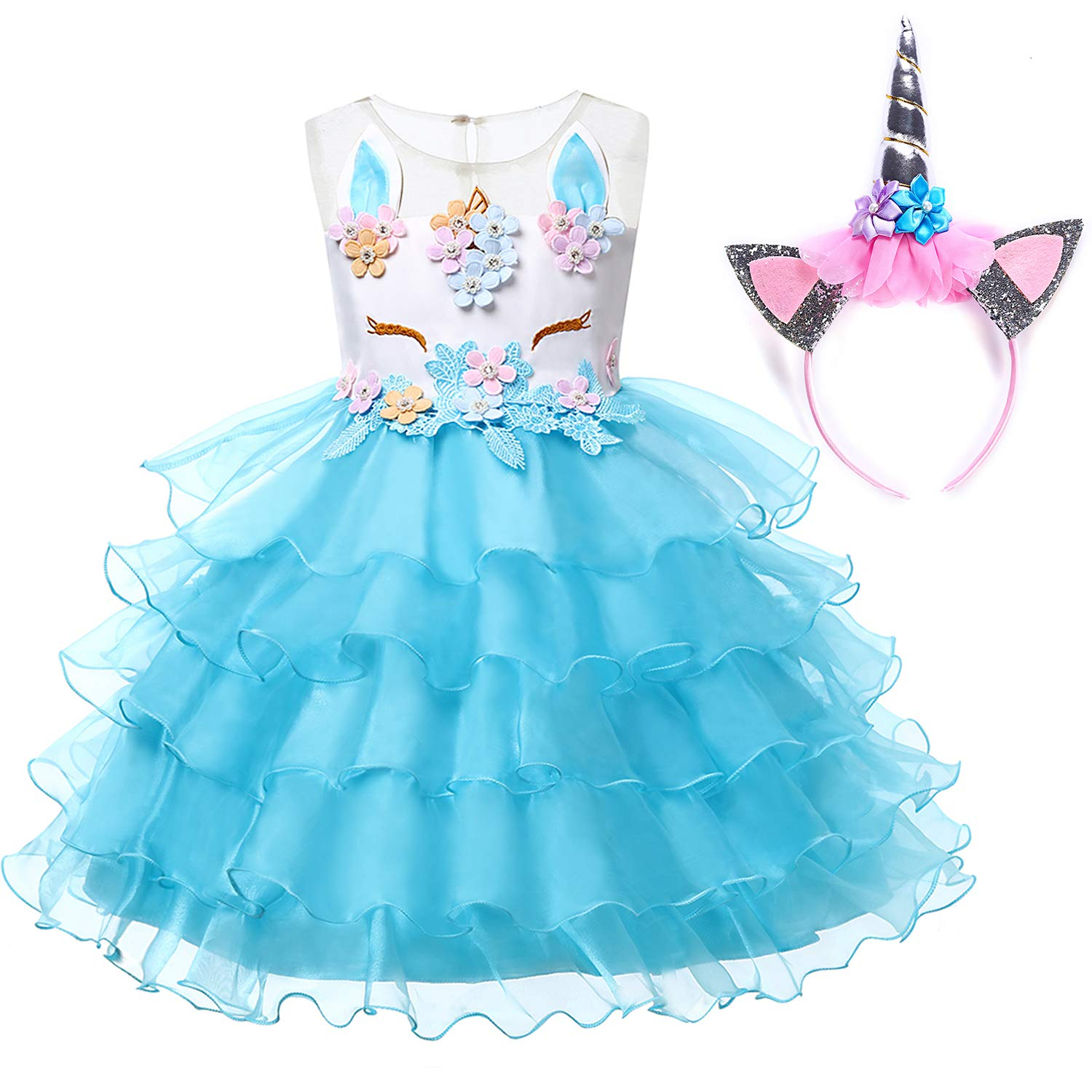 9034fe948e Muababy Baby Girl Unicorn Costume Pageant Flower Princess Party Dress with  Headband