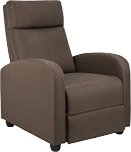 JUMMICO Fabric Recliner Chair Adjustable Home Theater Single Recliner Sofa Furniture with Thick Seat Cushion and Backrest Modern Living Room Recliners (Brown)