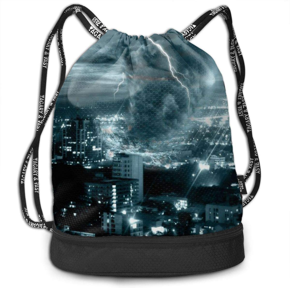 Women Sport Cinch Pack Backpack for Men Tornado City Printed Sackpack Kji Gym Sack Drawstring Bag