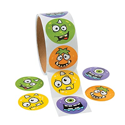 Monster Face Roll Stickers for Halloween (100 Stickers) Stationery - Halloween: Home & Kitchen