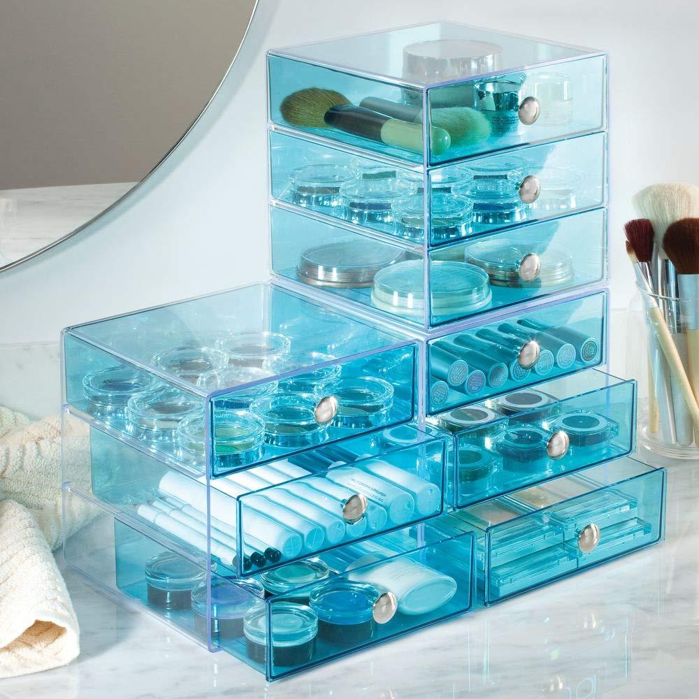 InterDesign Drawers /étag/ère /à tiroirs organiseur de bureau bleu eau bo/îte /à maquillage /à 3 tiroirs en plastique pour maquillage et accessoires