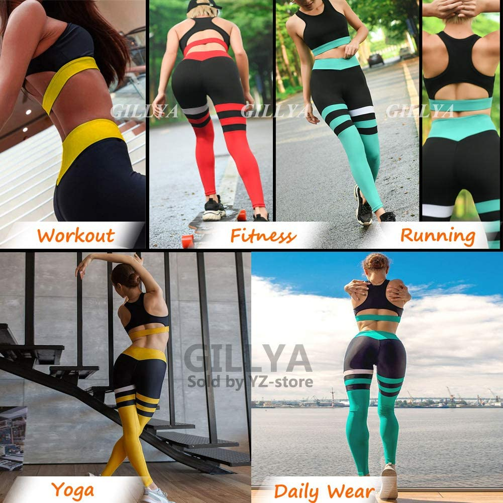 GILLYA Yoga Workout Outfits for Women 2 Piece Set Fitness Gym Outfits Set High Waisted Striped Gym Leggings Top Bra Set