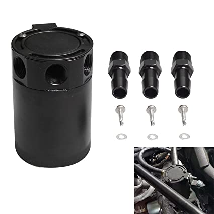 PQYRACING Compact Baffled 2-Port Oil Catch Can Tank M16/×1.5 Inlet Outlet 160ml with Drain Valve