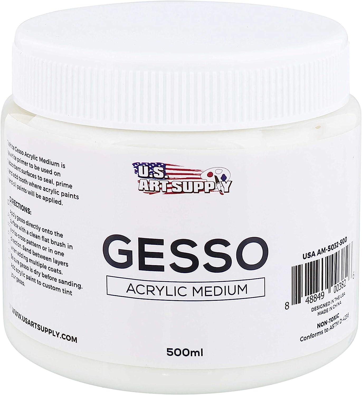 U.S. Art Supply White Gesso Acrylic Medium, 500ml Tub - 16.9 Ounces Over a Pint
