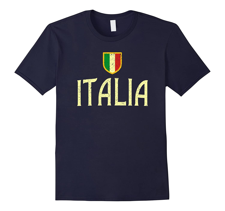 Vintage Italy T-shirt Italian Flag italia Retro Distressed-CD