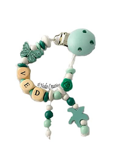 Cadena para el chupete | con nombre adaptable | azul | clips de chupete soothie