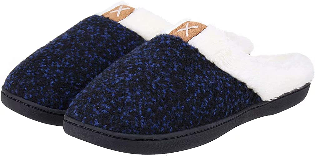Mens /& Womens Comfy Plaid Memory Foam Slippers Soft Fleece Lined House Shoes w//Non-Skid Rubber Sole