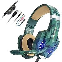 EasySMX Auriculares con Microfono, Cascos Gaming Xbox One, Gaming Headset para PS4 con Control de Volumen, Compatible con Laptop PC y Smartphone(Camuflaje)