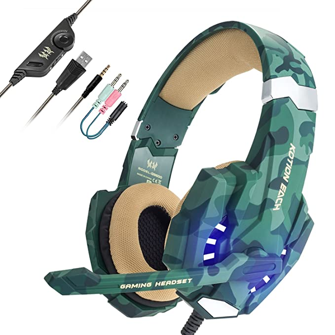 EasySMX Auriculares con Microfono, Cascos Gaming para Nueva Xbox One, Gaming Headset para PS4 con Control de Volumen, Compatible con Laptop PC y ...