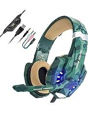 EasySMX Auriculares con Microfono, Cascos Gaming para Nueva Xbox One, Gaming Headset para PS4 con Control de Volumen, Compatible con Laptop PC y Smartphone(Camuflaje)