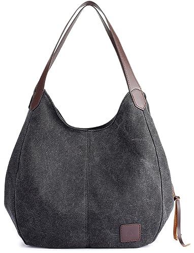 4efbc72ebb92 Amazon.com  Luckysmile Canvas Hobo Bag Top Handle Tote Handbag Travel  Shopping Bag for Women  Shoes