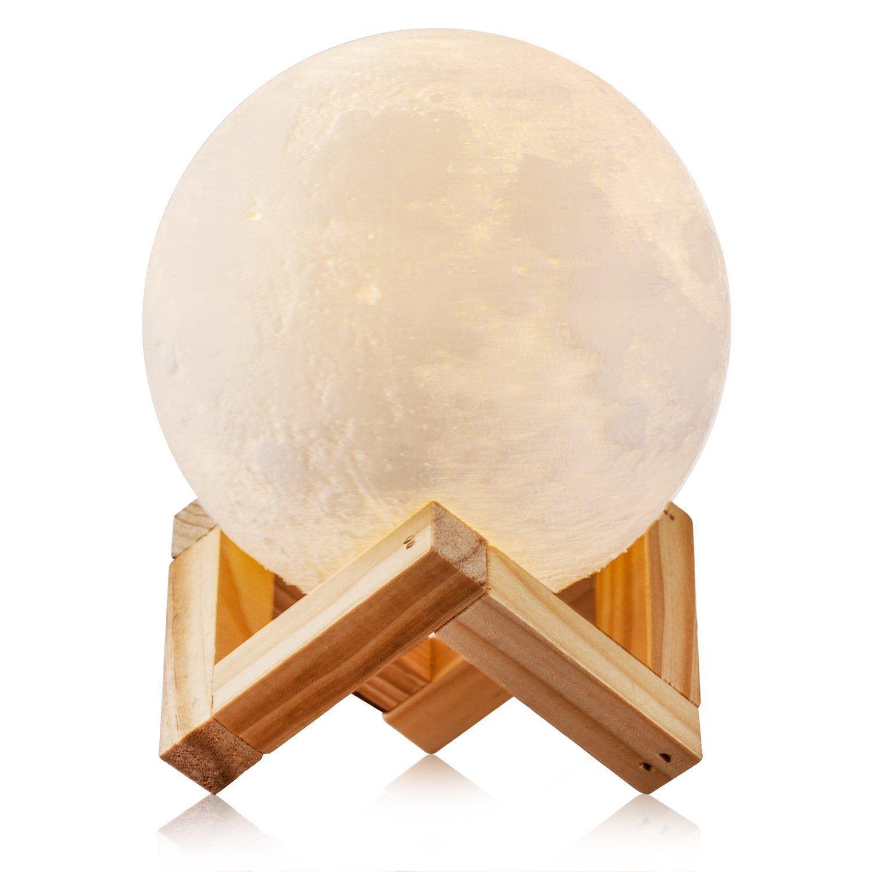 Wsxxn Rechargeable LED 3D Moon Lamp Light Romantic 10cm Desk Lamp Lunar Light with Double Colour Changing Lights for Baby Children Friend Present and Home Decoration (Size : 12cm)