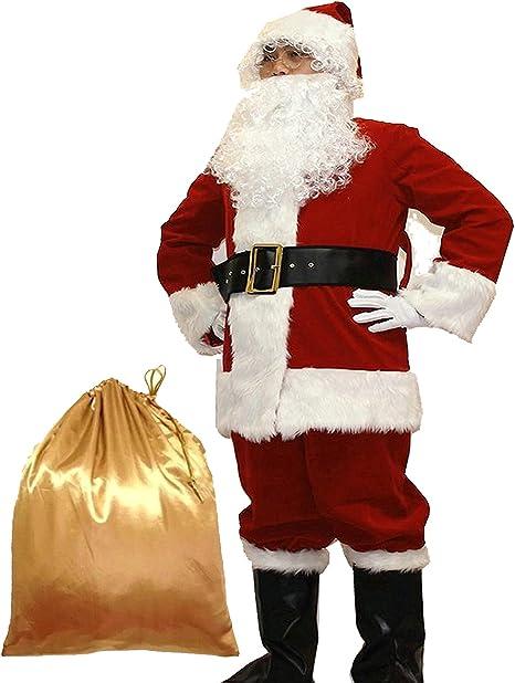Amazon.com: Potalay Deluxe - Traje de Papá Noel para hombre ...