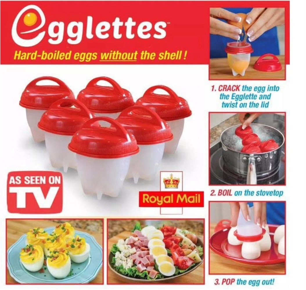 Egg Cooker (pack of 6), Get Hard Boiled Eggs without the Egg Shell