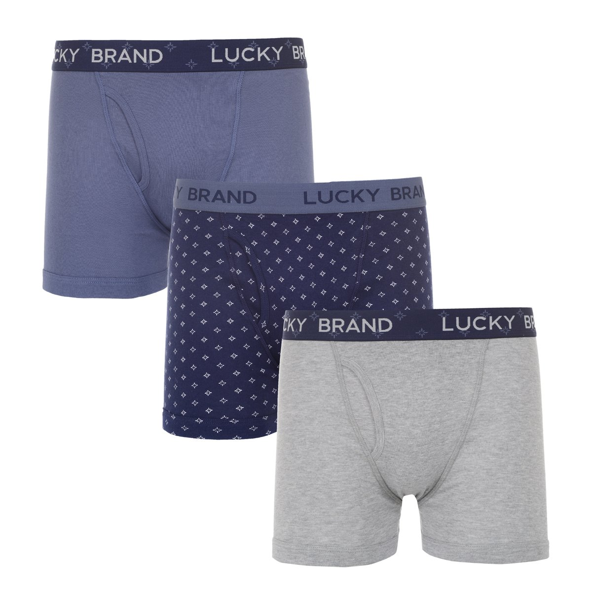 Lucky Brand Mens 3 Pack Cotton Boxer Briefs Vintage Indigo/Peacoat Print/Heather Grey M