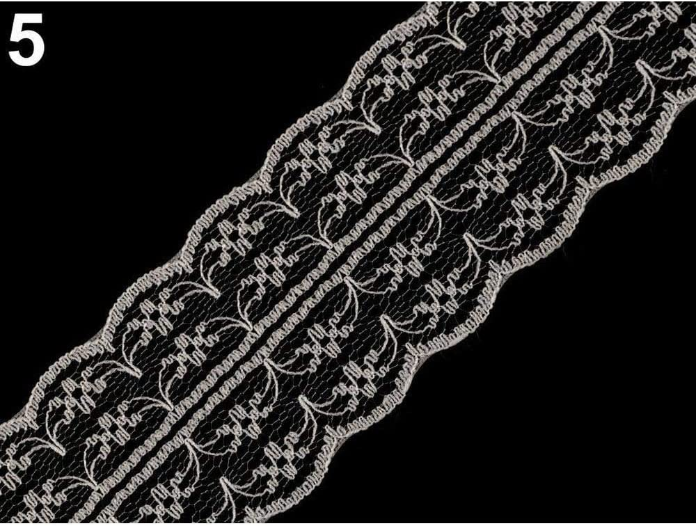 de la Mercerie de Mad/ère Et de Polyester 15m Blanc Polyamide Dentelle Largeur 45mm