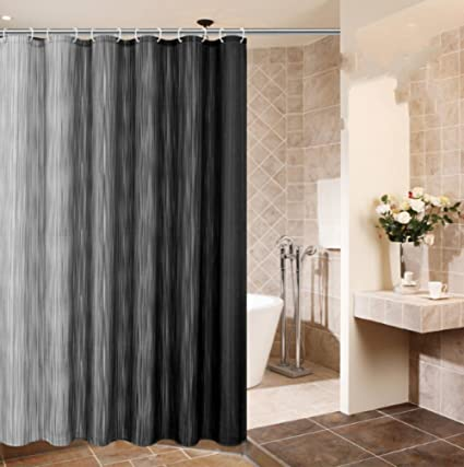 ALDECOR Luxurious Waffle Weave Fabric Ombre Shower Curtain Vertical Stripe Pattern Water Proof Mildew Resistant