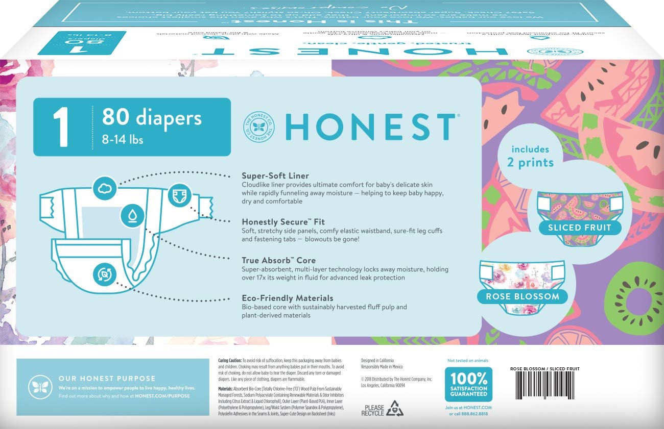 76 Count The Honest Company Club Box Diapers with TrueAbsorb Technology Size 2 Trains /& Breakfast