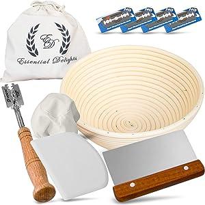 9 Inch Bread Banneton Proofing Basket Set with Linen Liner, Decorative Bread Bag, Scoring Lame, Metal Dough Scraper, Flexible Plastic Bowl Scraper
