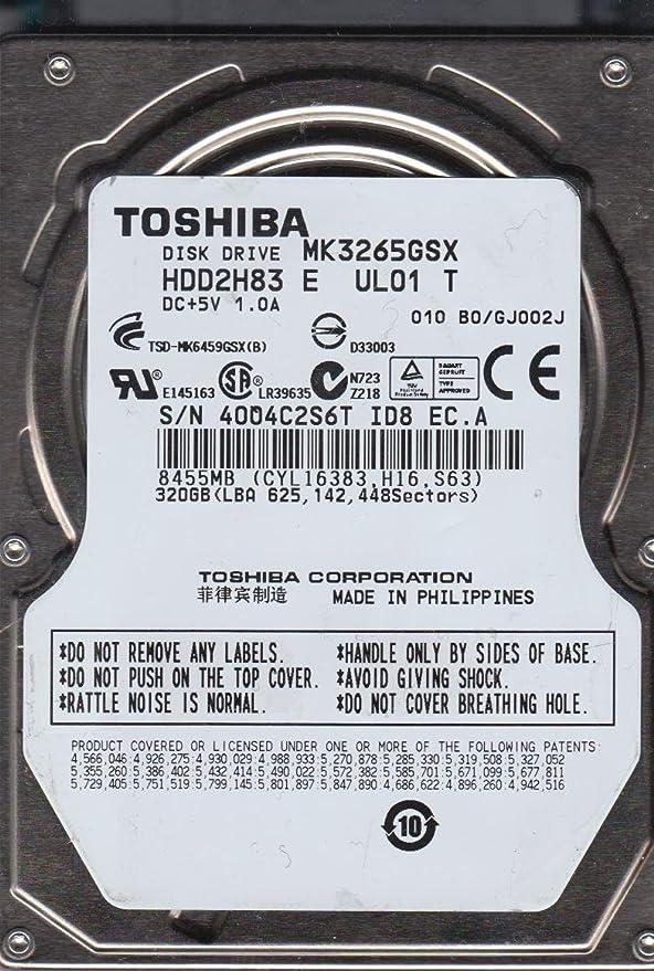 Toshiba 320GB SATA 2.5 Hard Drive MK3265GSX B0//GJ002J HDD2H83 E UL01 T
