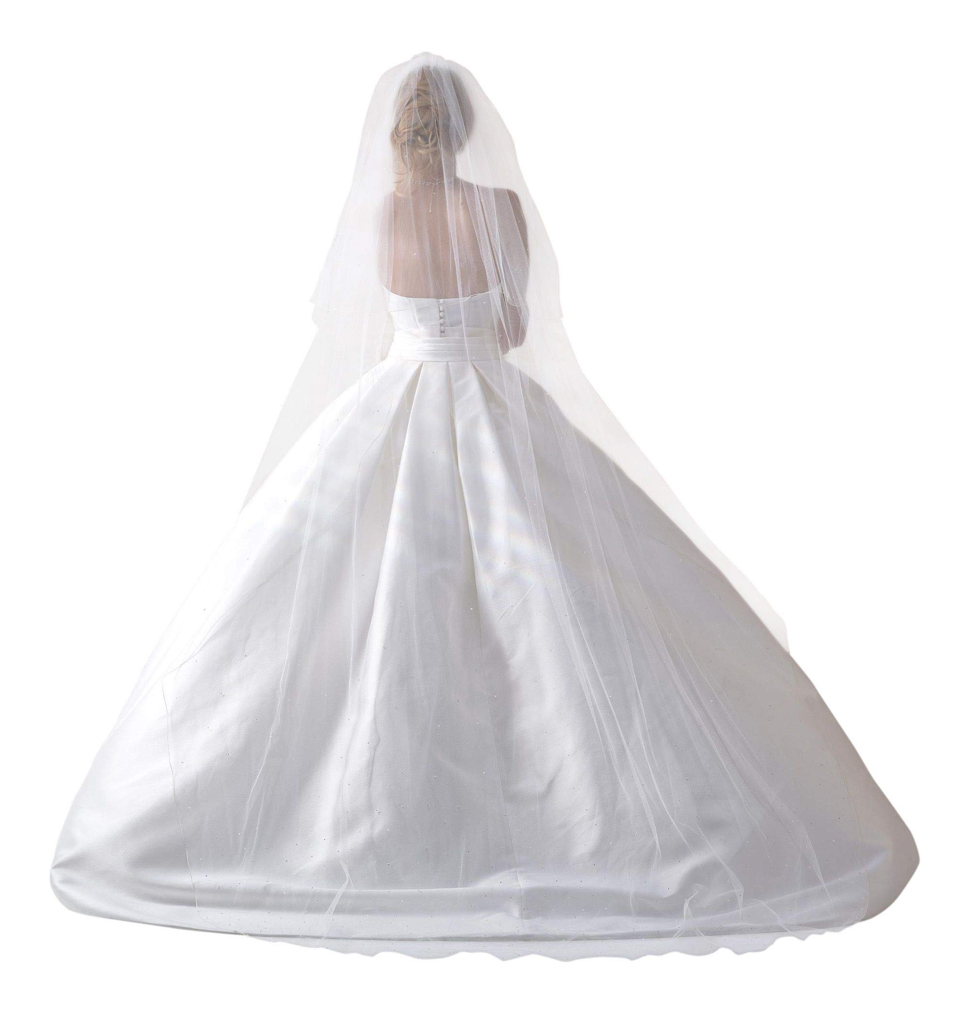 Lacey Bell Wedding 2-Tier Pencil Edge Veil with Comb Opal White Crystals Cathedral Length PV-139 Ivory