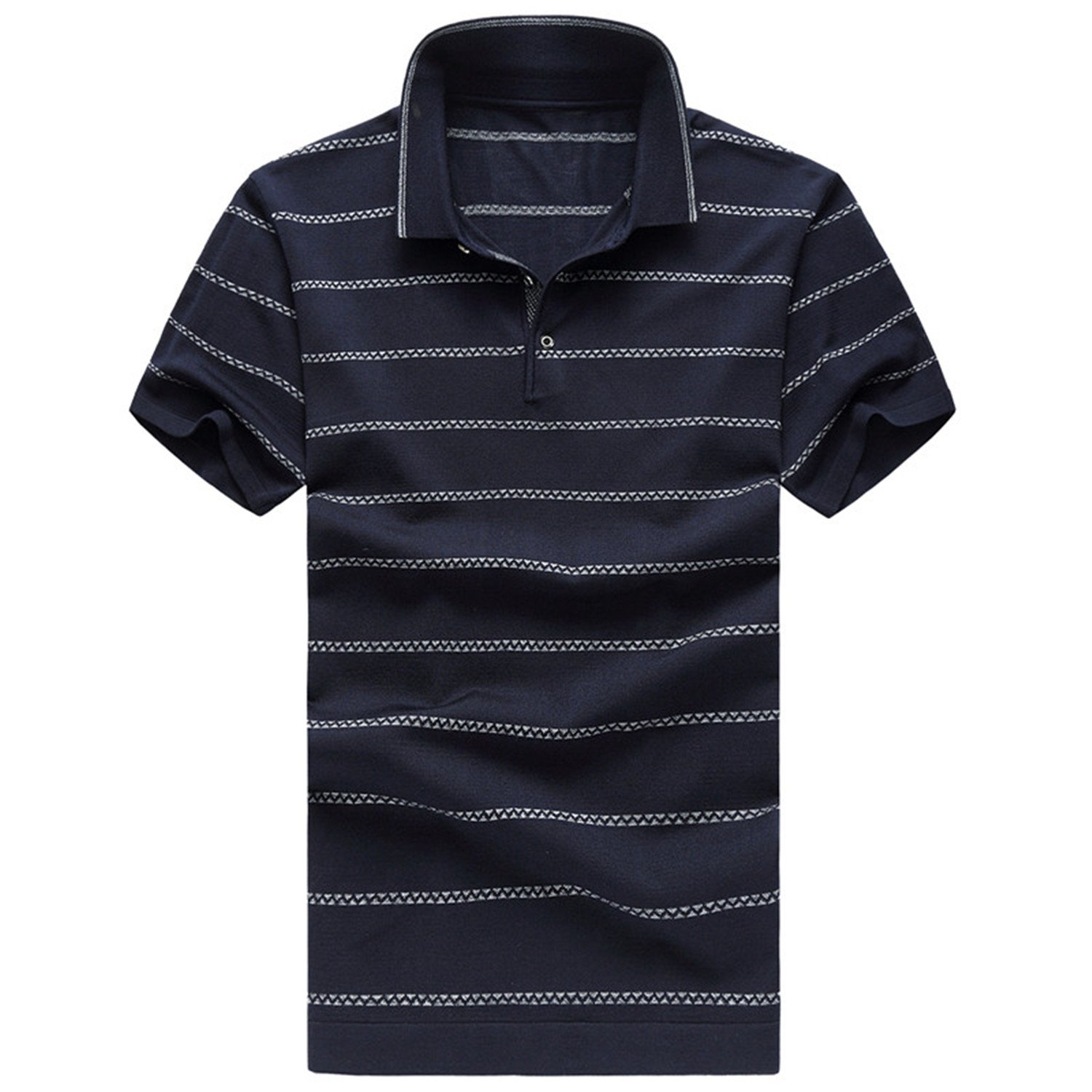 Willie Marlow Polo Shirt With Short Sleeves Fashion Stripe Polo Mens Plus Size 6XL Navy Blue 6XL