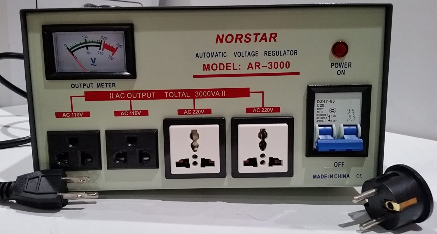 220-240 Volt to 110-120 Volt and 110-120 Volt to 220-240 Volt Two Way Transformer Converter Norstar 3000 Watt Step Up and Down Voltage Transformer with Automatic Voltage Regulator