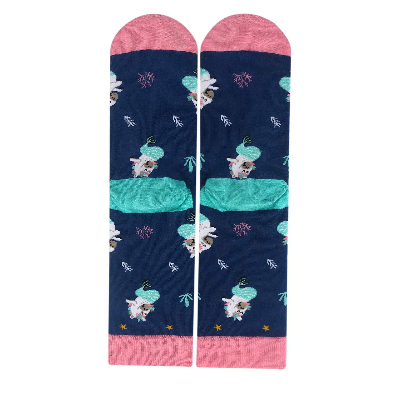 Womens Girls Funny Novelty Unicorn Crew Socks Crazy Casual Rainbow Cotton Socks (Mermaid)