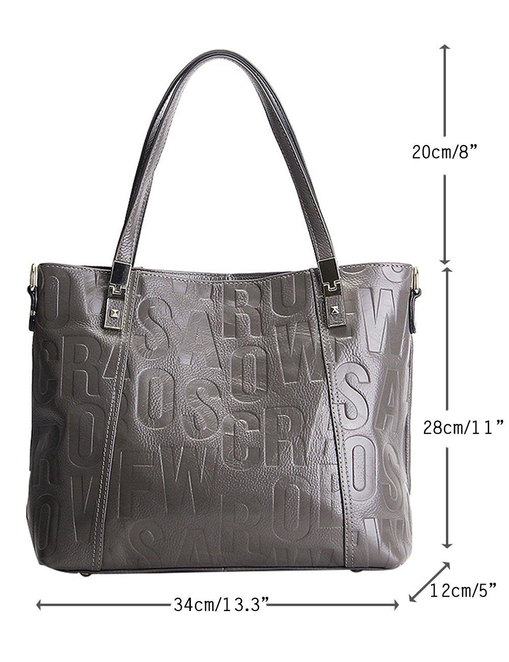Menschwear Womens Genuine Leather Top Handle Satchel Bag Grey by Menschwear (Image #2)