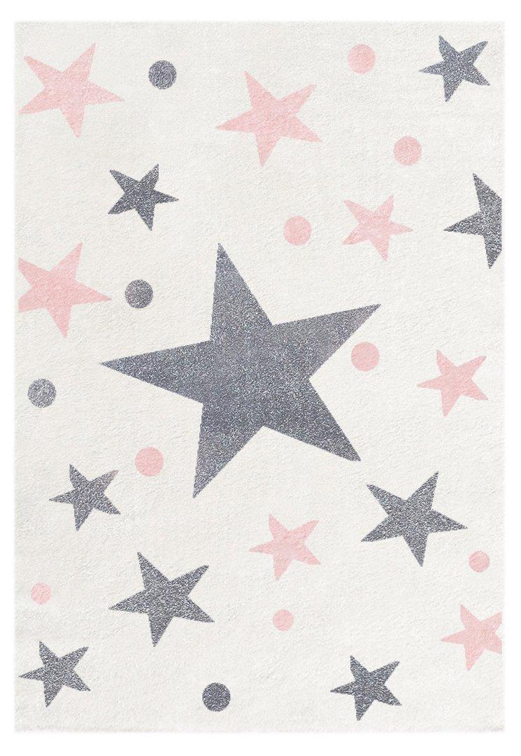 Livone Kinderteppich Happy Rugs Stars Creme Silbergrau-rosa 120x180 cm