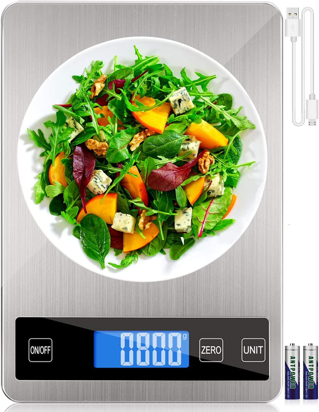 "Digital Food Scale, Rechargeable Kitchen Scale (10kg/22lb) for Cooking Baking, 1g/0.1oz Precise Graduation, 9""x6.3"" Stainless Steel Surface and Tempered Glass Big Panel and Large Backlit LCD Display"